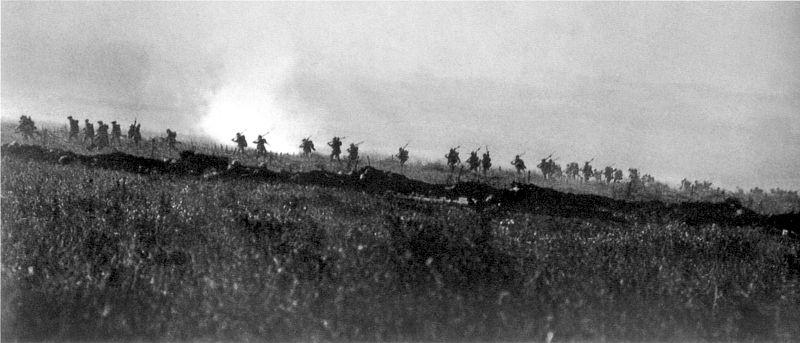 Doomed: the Tyneside Irish advancing on Contalmaison, July 1 1916